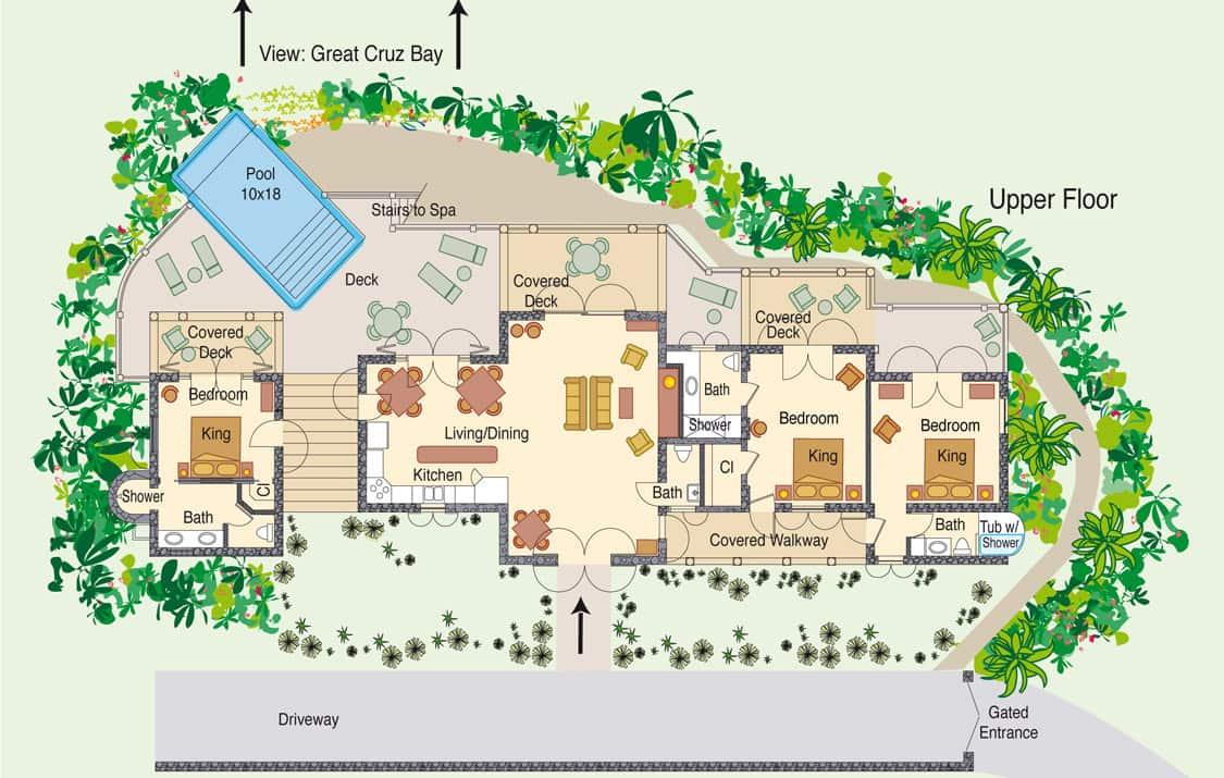 Family vacation rental st john virgin islands oceana vill st oceana villa floor plan baanklon Choice Image
